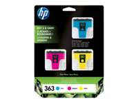 CB333EE - HP 363 - 3-pack - yellow, cyan, magenta - original - ink cartridge - for Photosmart 3210, 3310, 3310xi, C5180, C6180, C6280, C7180, C7280, D6160, D7160, D7360 CB333EE